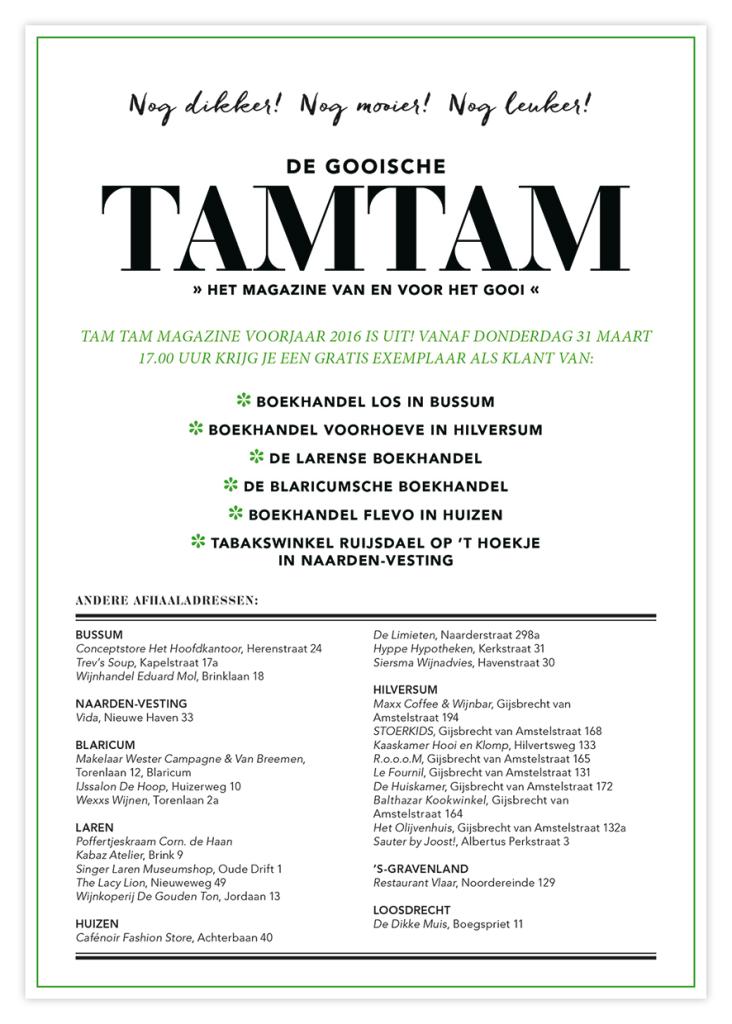 Gooische TamTam Magazine voorjaar 2016 is uit!