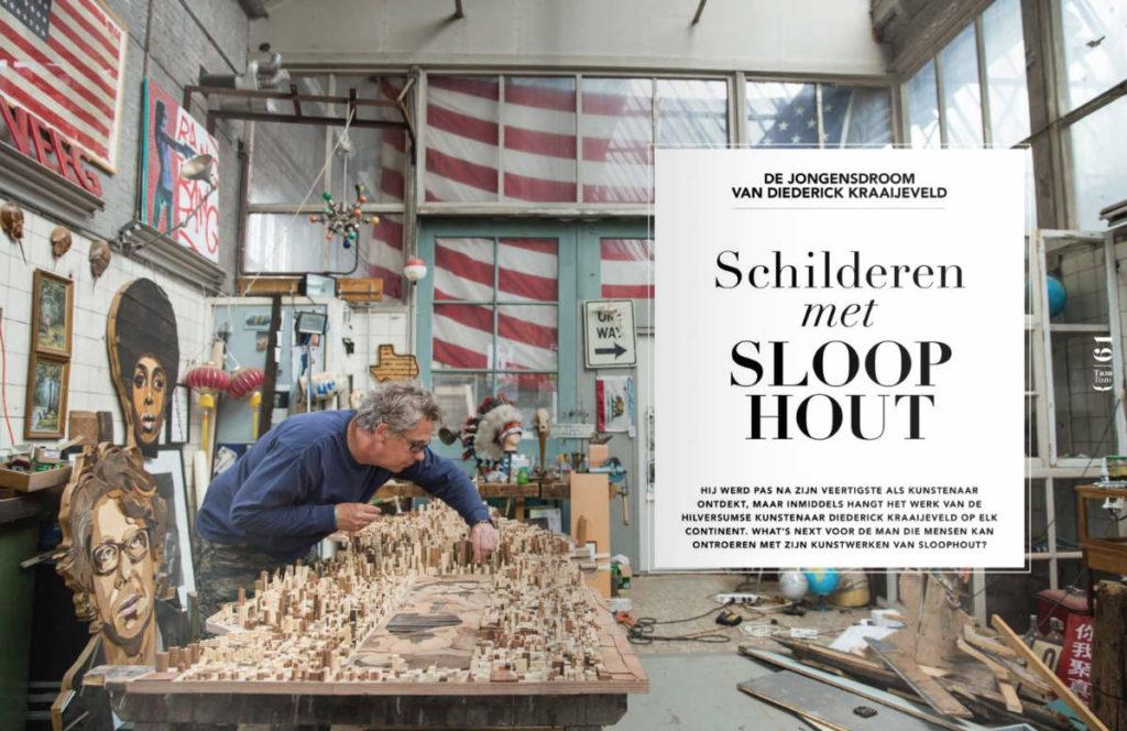 Diederick Kraaijeveld schilderen met sloophout